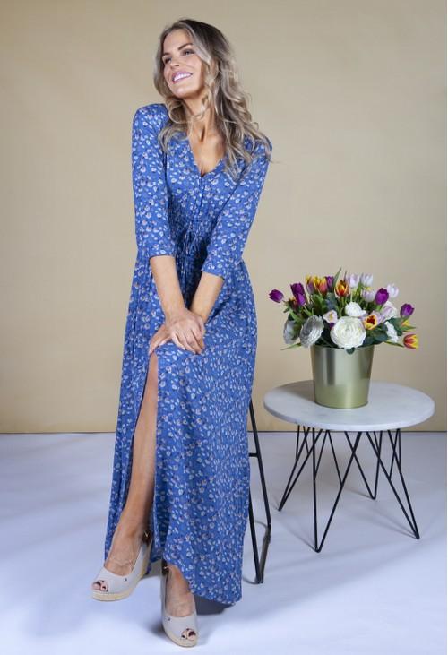 Pamela Scott Smocked Waist Maxi Dress in a Blue Floral Print