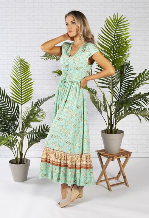 Pamela Scott Smocked Waist Maxi Dress in a Mint Print