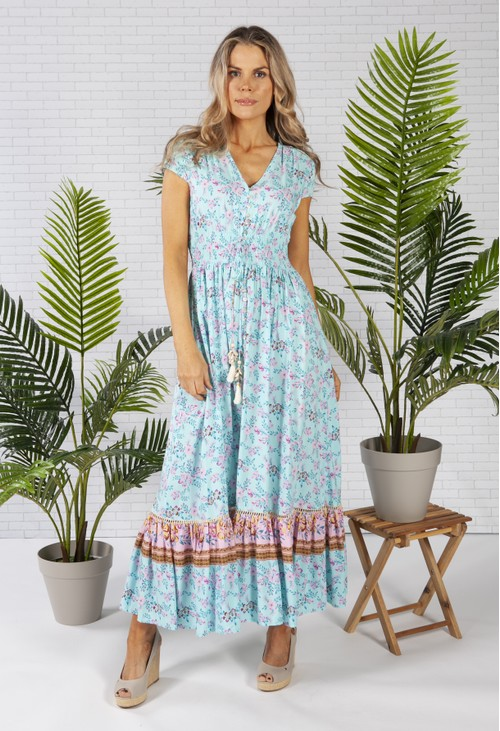 Pamela Scott Smocked Waist Maxi Dress in a Turquoise Print
