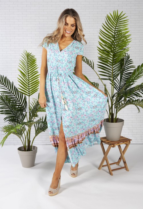 Pamela Scott Smocked Waist Maxi Dress in a Turquoise Print