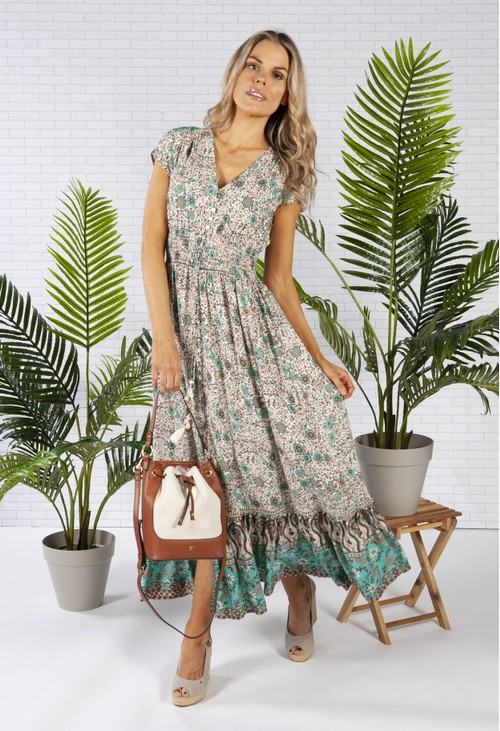 Pamela Scott Smocked Waist Maxi Dress in a Sand Print