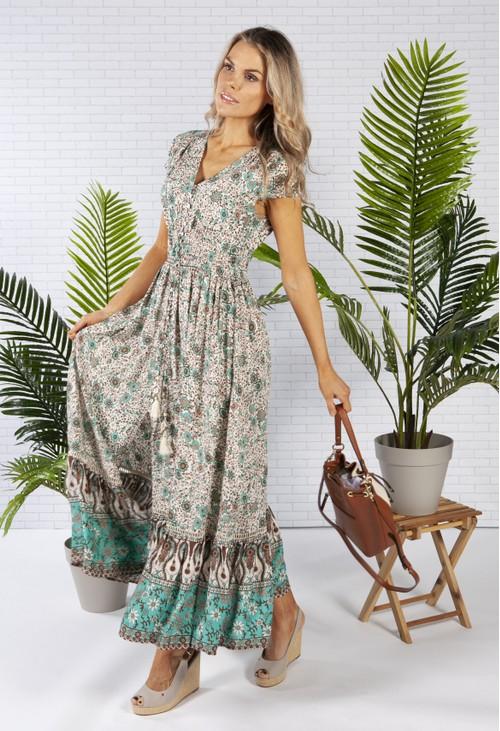 Pamela Scott Smocked Waist Maxi Dress in a Sand Print