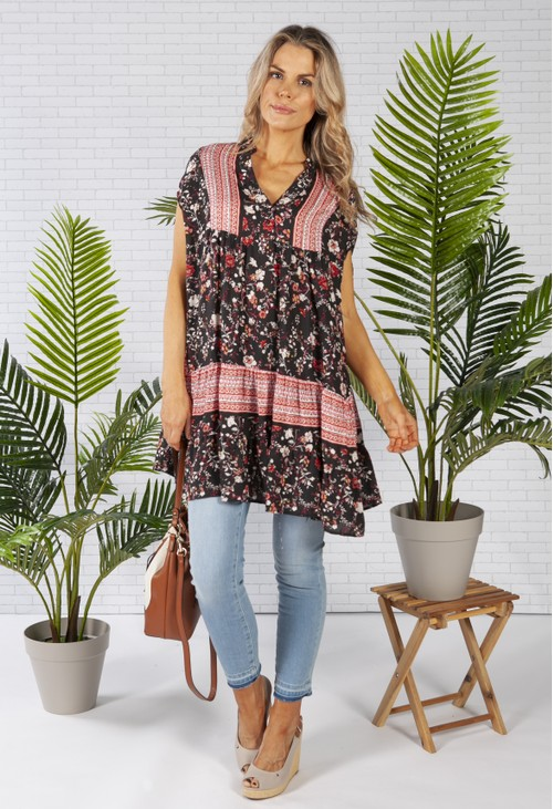 Pamela Scott Floral Print Tunic with Boarder Design in Black