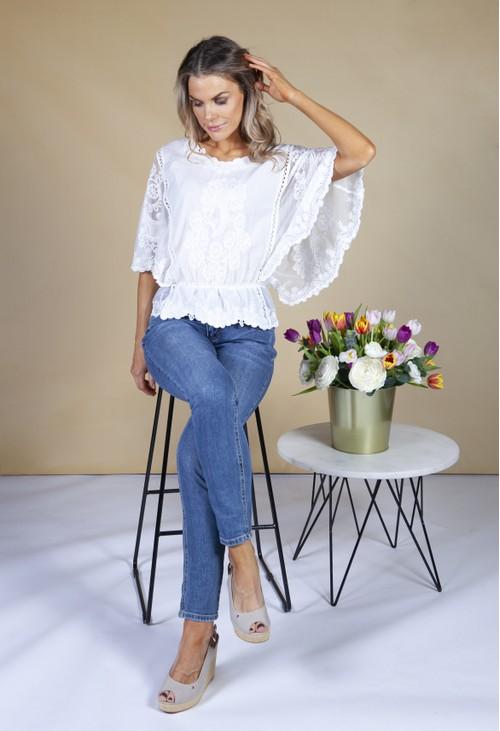 Pamela Scott Short Sleeve Embroidery Top in Cream