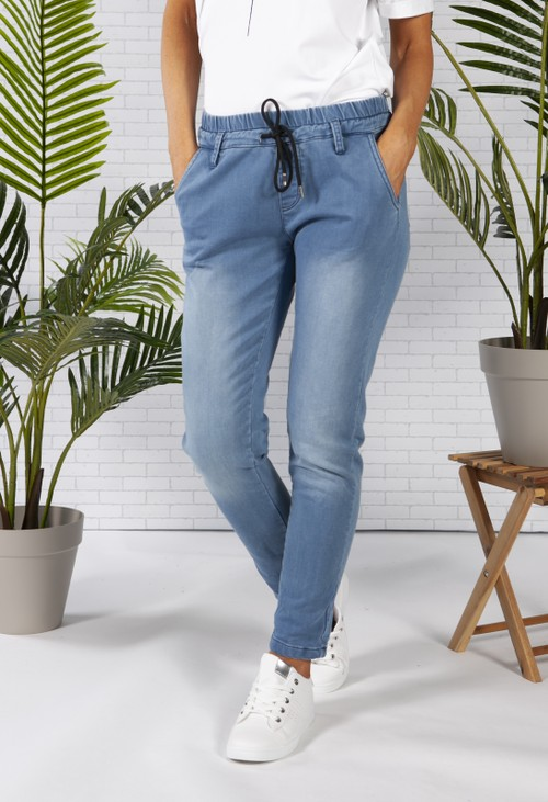 Pamela Scott Denim Joggers with Elasticated Waist