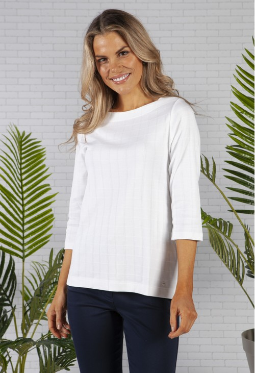 Olsen 100% Cotton 3/4 Sleeve Square Neck White T-Shirt