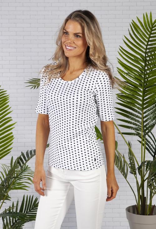 Olsen Navy Spotted White Organic Cotton T-Shirt