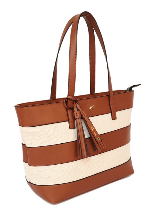 Gionni striped shopper style bag in tan and white