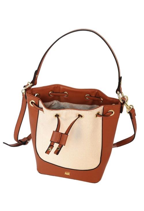 Gionni top handle bucket bag in tan