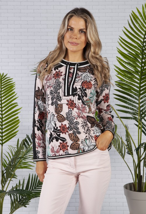 Betty Barclay Floral Print Knit in Black