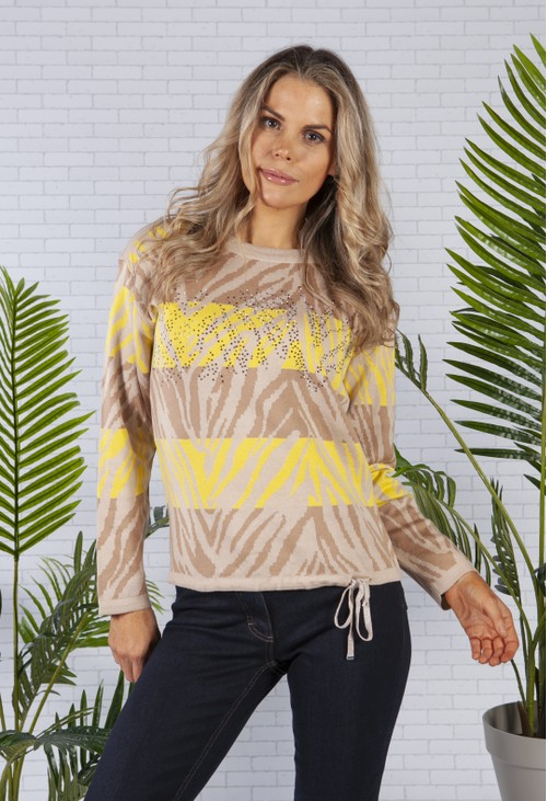 Betty Barclay Animal Print Jumper with Rhinestone Front in Camel and Lemon