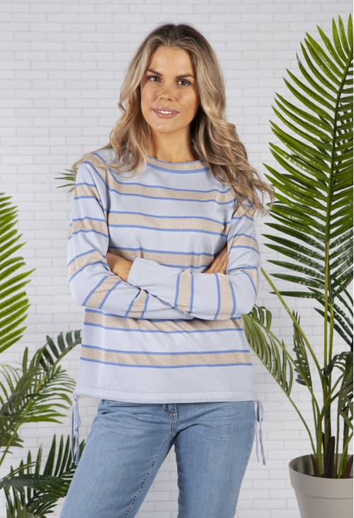 Betty Barclay Striped Drawstring Jumper in Light Blue and Beige lurex
