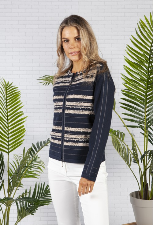 Betty Barclay Cardigan with Frayed Details in Navy