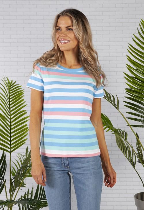 Twist Multi Stripe Top with Shoulder Button Detail