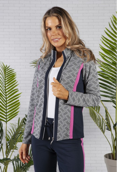 Pamela Femme SOFT KNIT JACQUARD ZIP UP JACKET