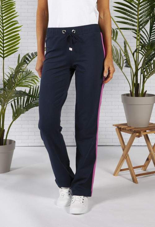 Pamela Femme Navy Joggers with Fuchsia Piping