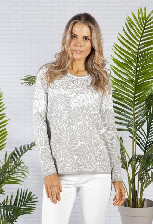 Olsen Long Sleeve Knit in a Light Grey Palm Print