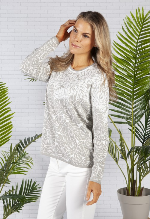 Olsen Long Sleeve Knit in a Light Grey Palm Print