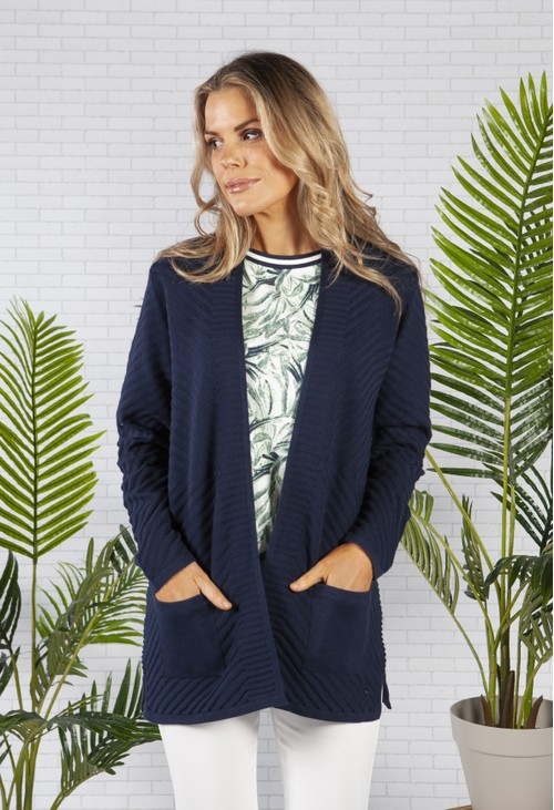 Olsen Long Sleeve Long Line Multi Rib Cardigan with Front Pockets