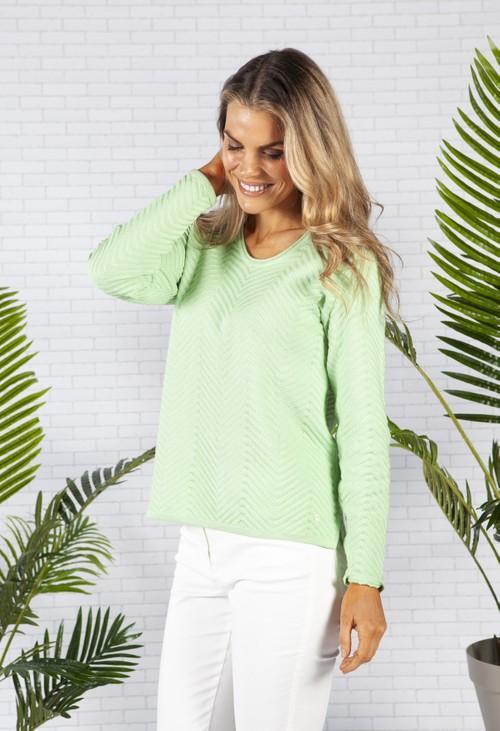 Olsen Long Sleeve Ribbed V-Neck knit in Apple Green