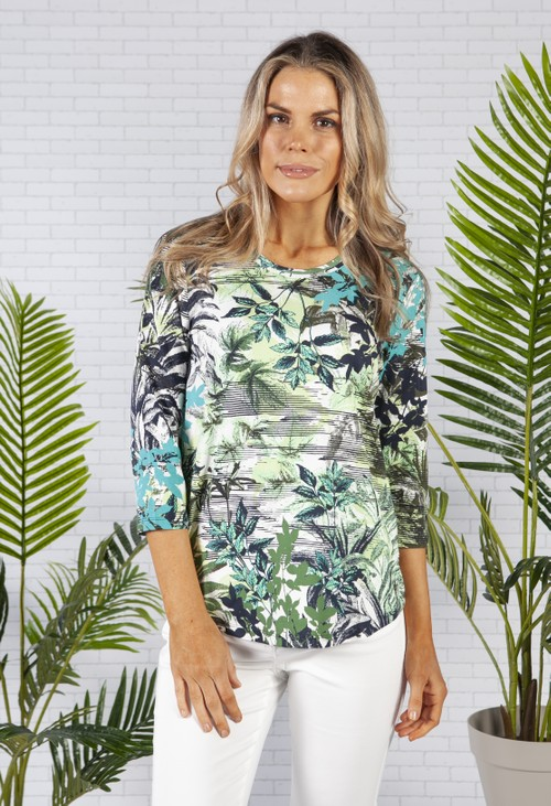Olsen All over Botanic Print Organic Cotton Blend T-Shirt