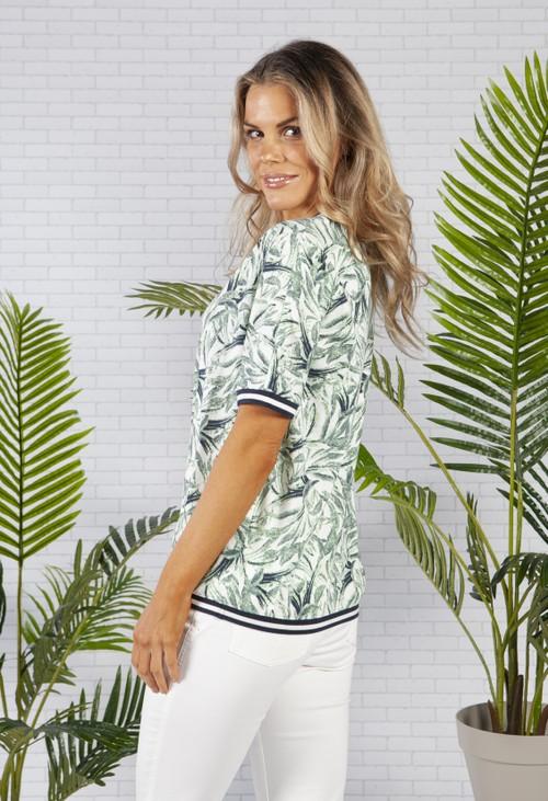 Olsen Short Sleeve All Over Botanic Print T-Shirt with Striped Trim