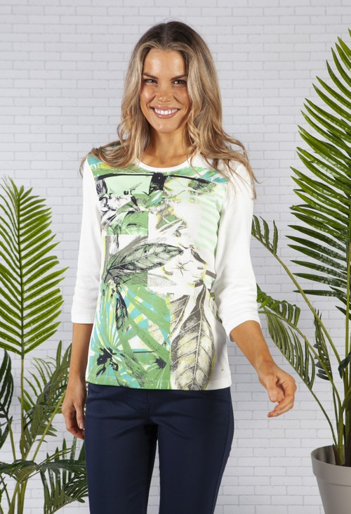 Olsen Organic Cotton Top with a Multi Botanic Print Front