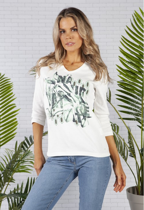Olsen Cotton with V-Neck Placement Botanic Print T-Shirt