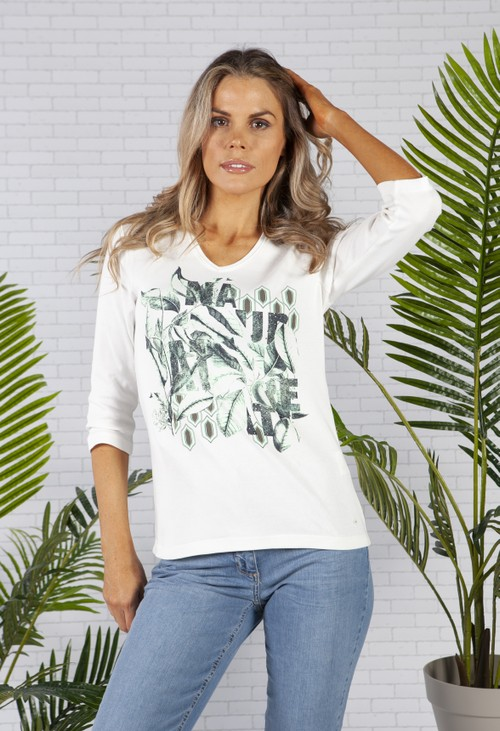 Olsen Cotton with V-Neck Placement Botanic Print T-Shirt