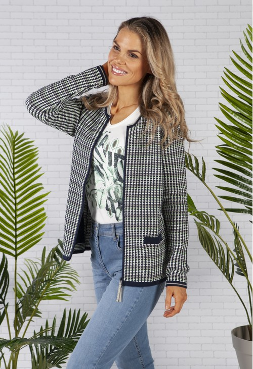 Olsen Cardigan with Zip and Pocket Front in Navy