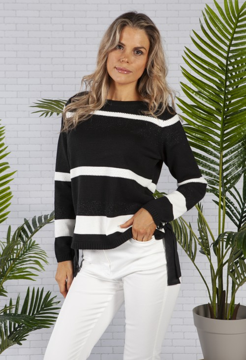 Betty Barclay Black Knitted Jumper with Stripes
