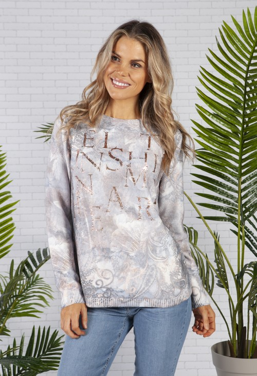 Betty Barclay Blue Paisley Print Jumper