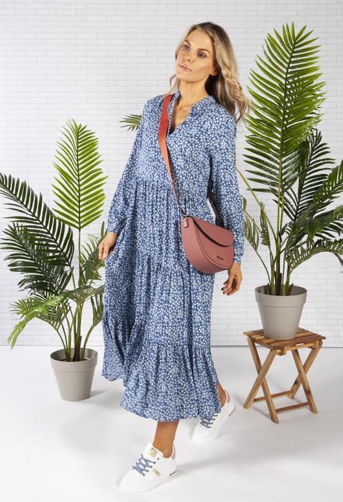 Pamela Scott Midi Style Shirt Dress in a Blue Floral Print