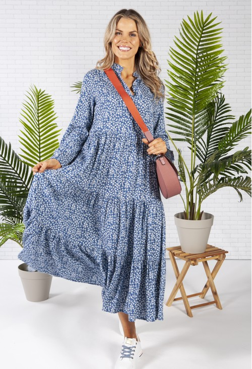 Pamela Scott Midi Style Shirt Dress in a Blue Floral Print