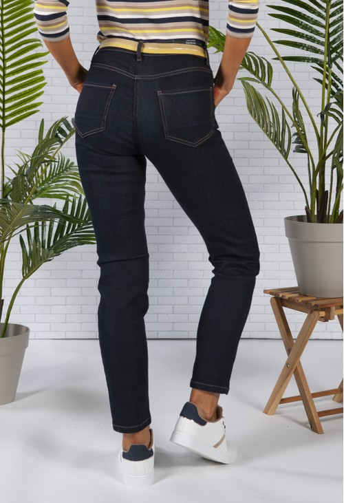 Betty Barclay Dark Denim Jeans with Contrast Belt