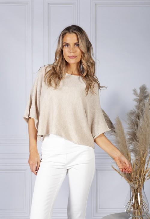 Pamela Scott *Pre-order* Perfect Lightweight  Summer Pullover in Linen Beige