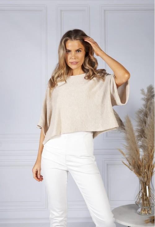 Pamela Scott Perfect Lightweight  Summer Pullover in Linen Beige