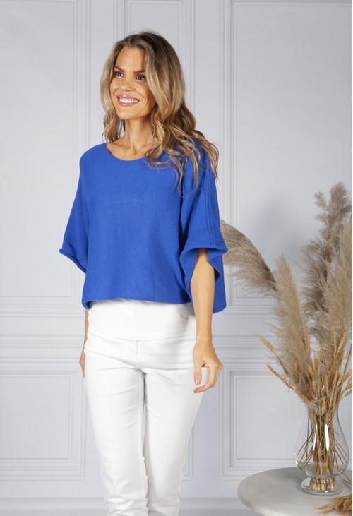 Pamela Scott *Pre-order* Perfect Lightweight Summer Pullover in Deep Royal Blue