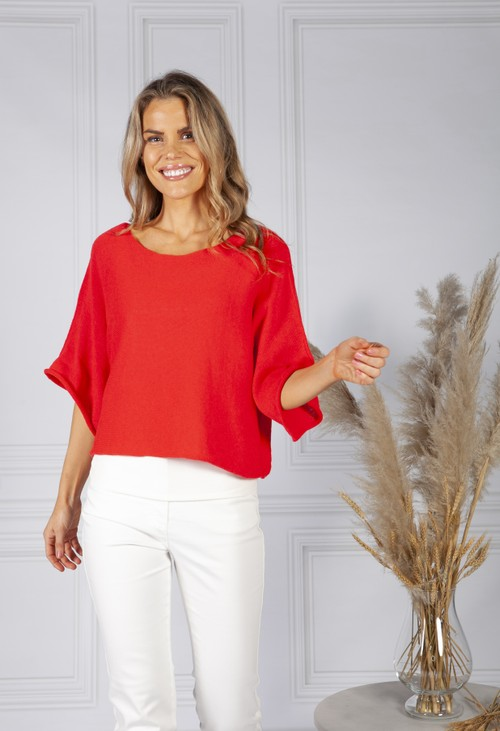 Pamela Scott Perfect Lightweight Summer Pullover in Coral Red