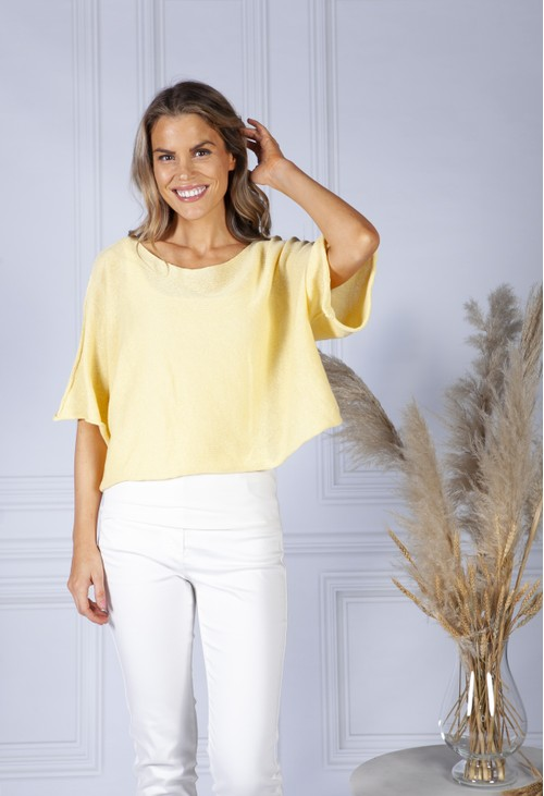 Pamela Scott Perfect Lightweight Summer Pullover in Lemon Sorbet