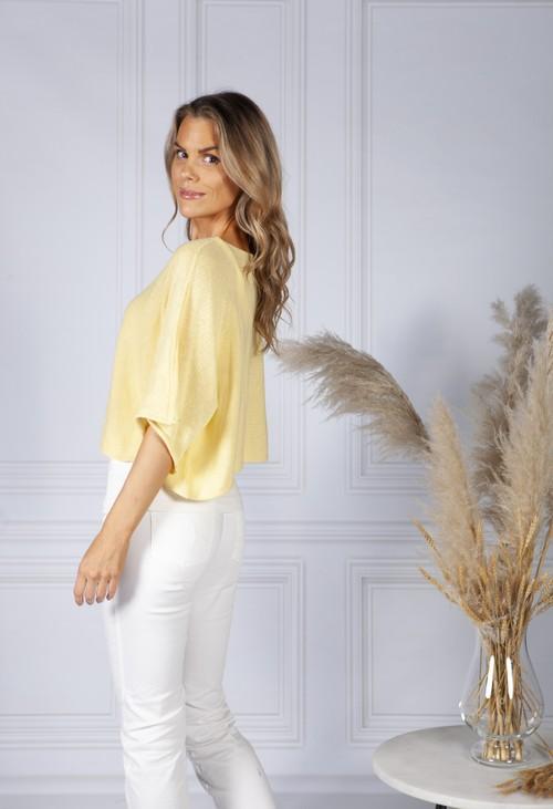 Pamela Scott Perfect Lightweight Summer Pullover in Lemon Sorbet