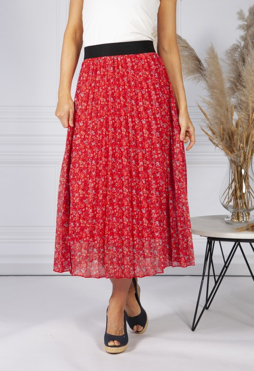 Pamela Scott All Over Pleated Skirt In Mille Fleur Design in Red Coral