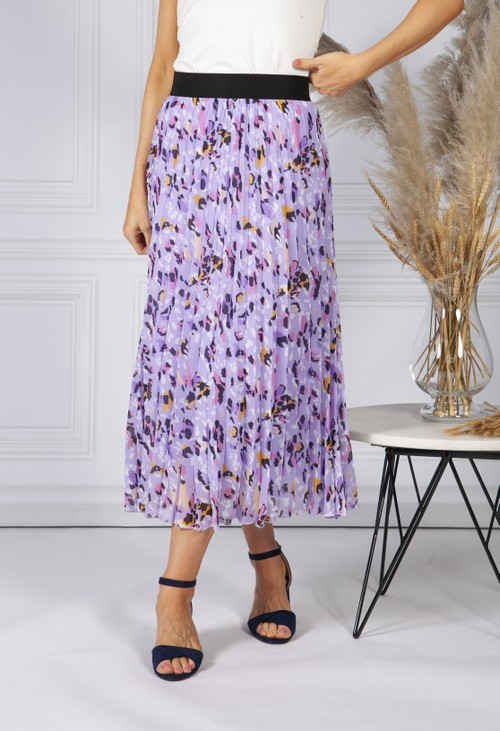 Pamela Scott All Over Pleated Skirt in an Abstract Animal Design in Lilac Mix