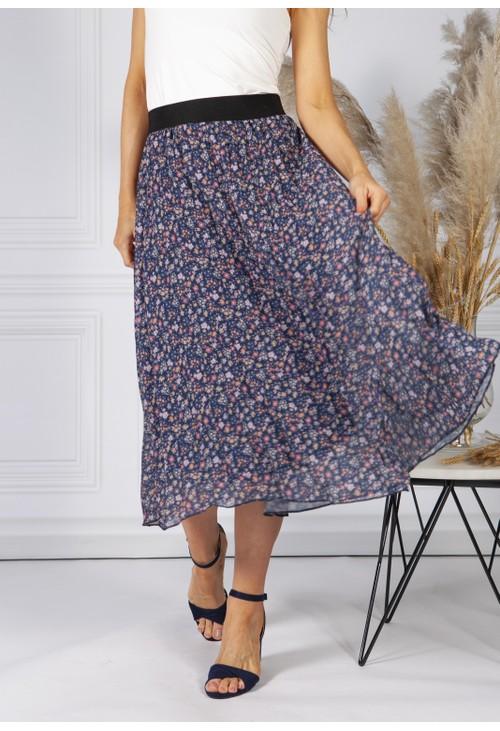 Pamela Scott All Over Pleated Skirt In Mille Fleur Design in Navy