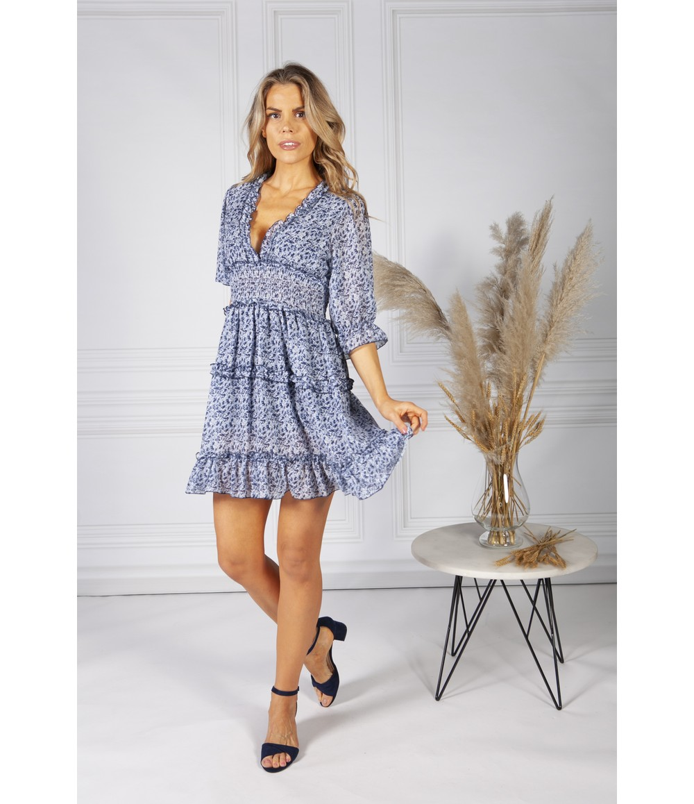 Pamela Scott Boho Inspired Shirred Dress in Navy Mix