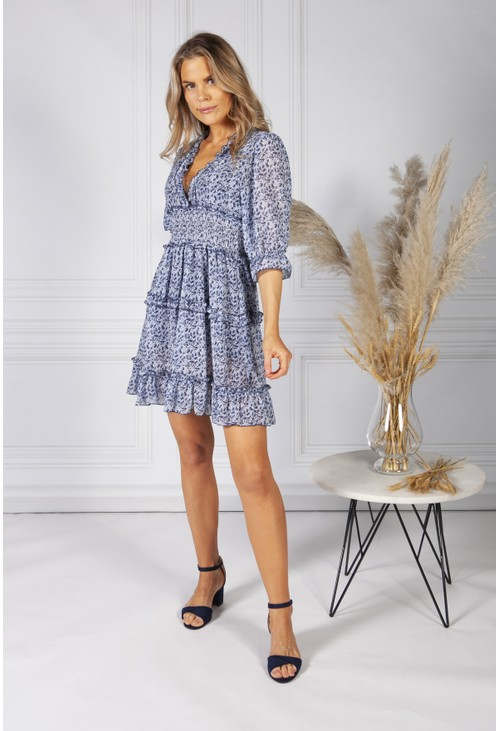 Pamela Scott Boho Inspired Shirred Dress in Navy Mix