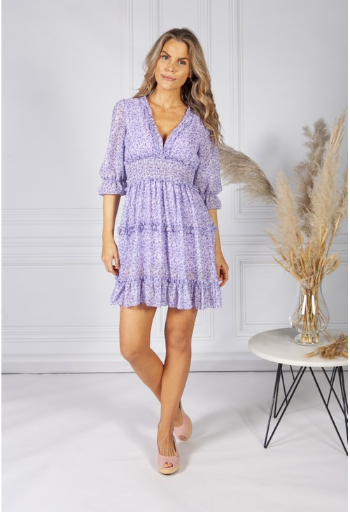 Pamela Scott *Pre-Order* Boho Inspired Shirred Dress in Lilac Mix