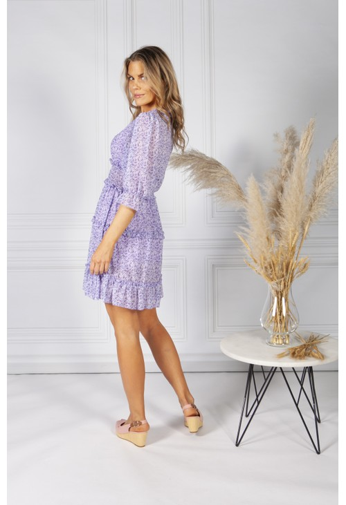Pamela Scott Boho Inspired Shirred Dress in Lilac Mix