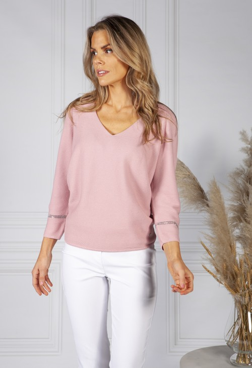 Monari 3/4 Sleeve V Neck Knit Jumper in Rose