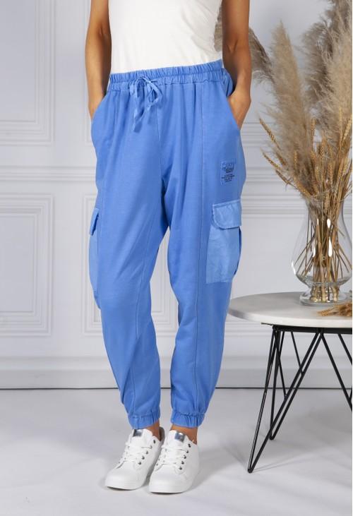 Pamela Scott Cargo Pocket Soft Jersey Jogger in Light Blue